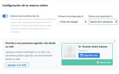 Agenda - Configurar reserva online de cita